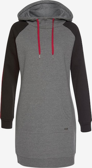 BUFFALO Sweatkleid in grau / rot / schwarz, Produktansicht