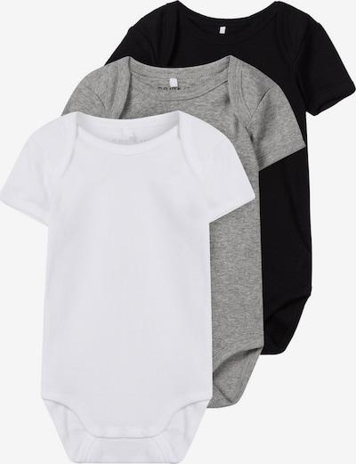 NAME IT Rompertje/body in de kleur Grijs gemêleerd / Zwart / Wit, Productweergave