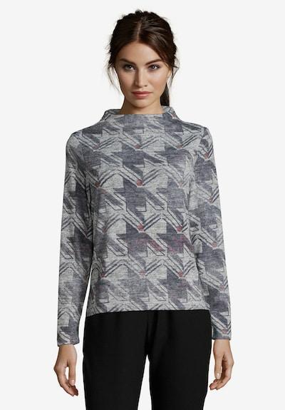 Betty & Co Sweatpullover in grau / hellgrau / burgunder: Frontalansicht