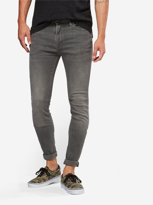 JACK & JONES Röhrenjeans 'Liam' in grey denim: Frontalansicht
