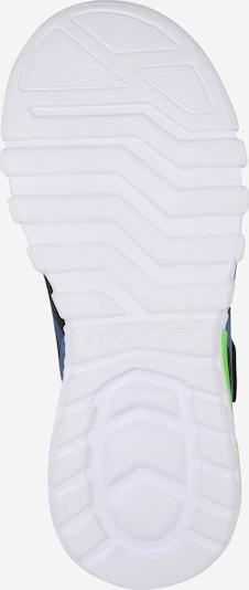 SKECHERS Sneaker 'Flex-Glow' in royalblau / kiwi / schwarz: Ansicht von unten