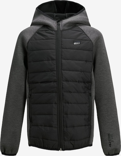 Jack & Jones Junior Sweatjacke in grau / schwarz: Frontalansicht