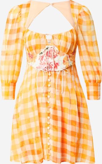 For Love & Lemons Jurk 'Mimosa' in de kleur Sinaasappel / Wit, Productweergave