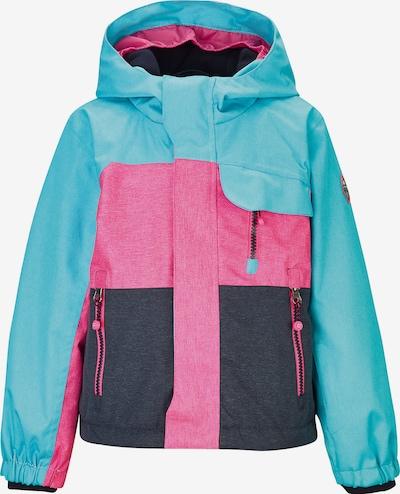 KILLTEC Skijacke 'Deny' in türkis / kobaltblau / pink, Produktansicht