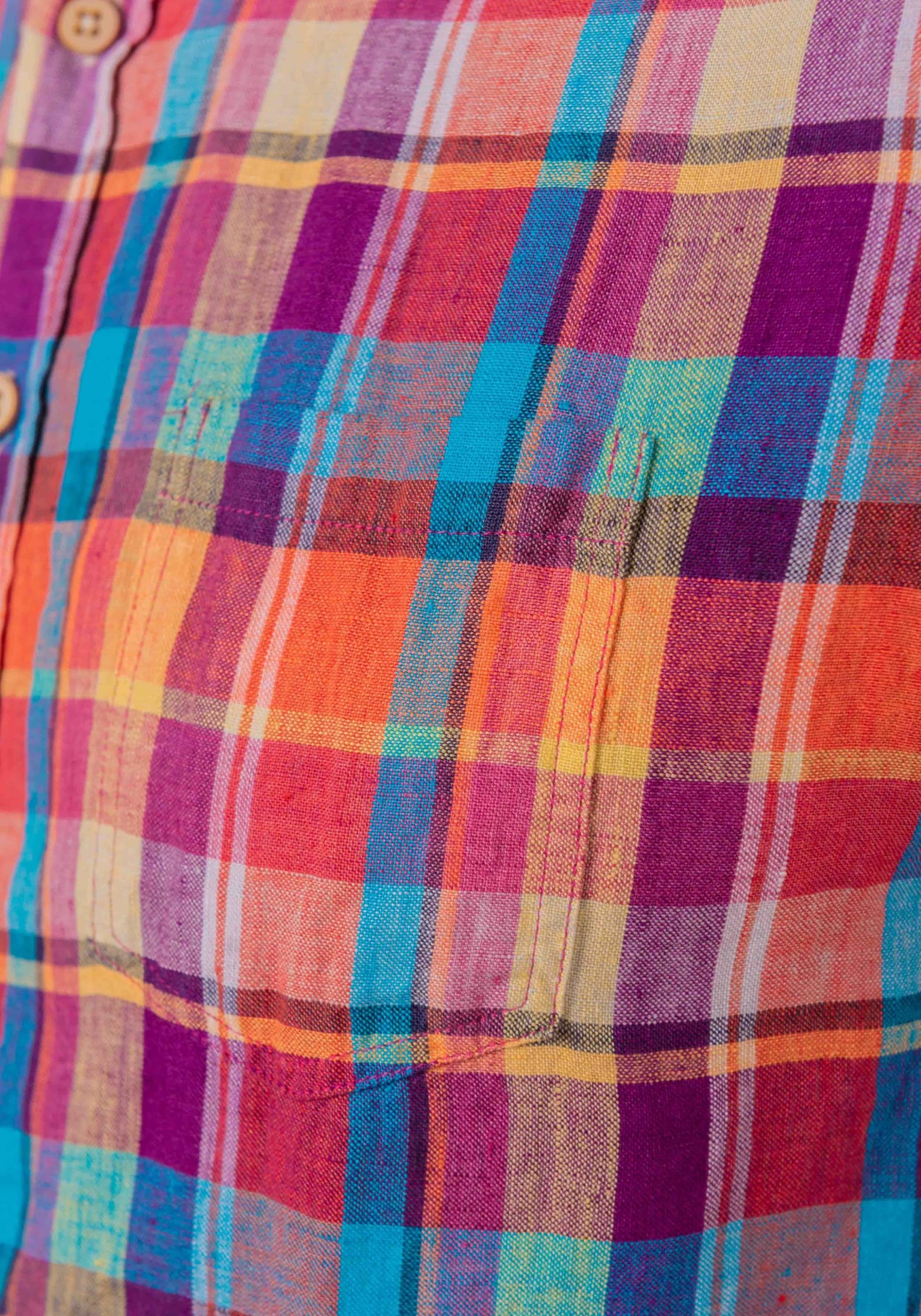 In Sons Leinenhemd Linen Rot Orange 'leon Check' HellblauMischfarben Coloursamp; KJc3TFl1