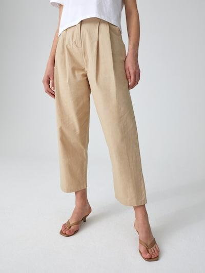 EDITED Kalhoty se sklady v pase 'Kimberly' - béžová, Model/ka