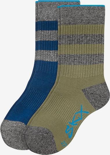 SKECHERS Socken in himmelblau / grau / oliv, Produktansicht