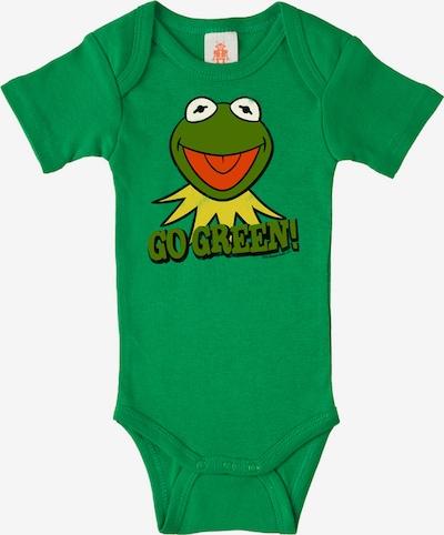 """LOGOSHIRT Baby-Body """"Kermit der Frosch"""" in gelb / grün / dunkelgrün / orangerot, Produktansicht"""