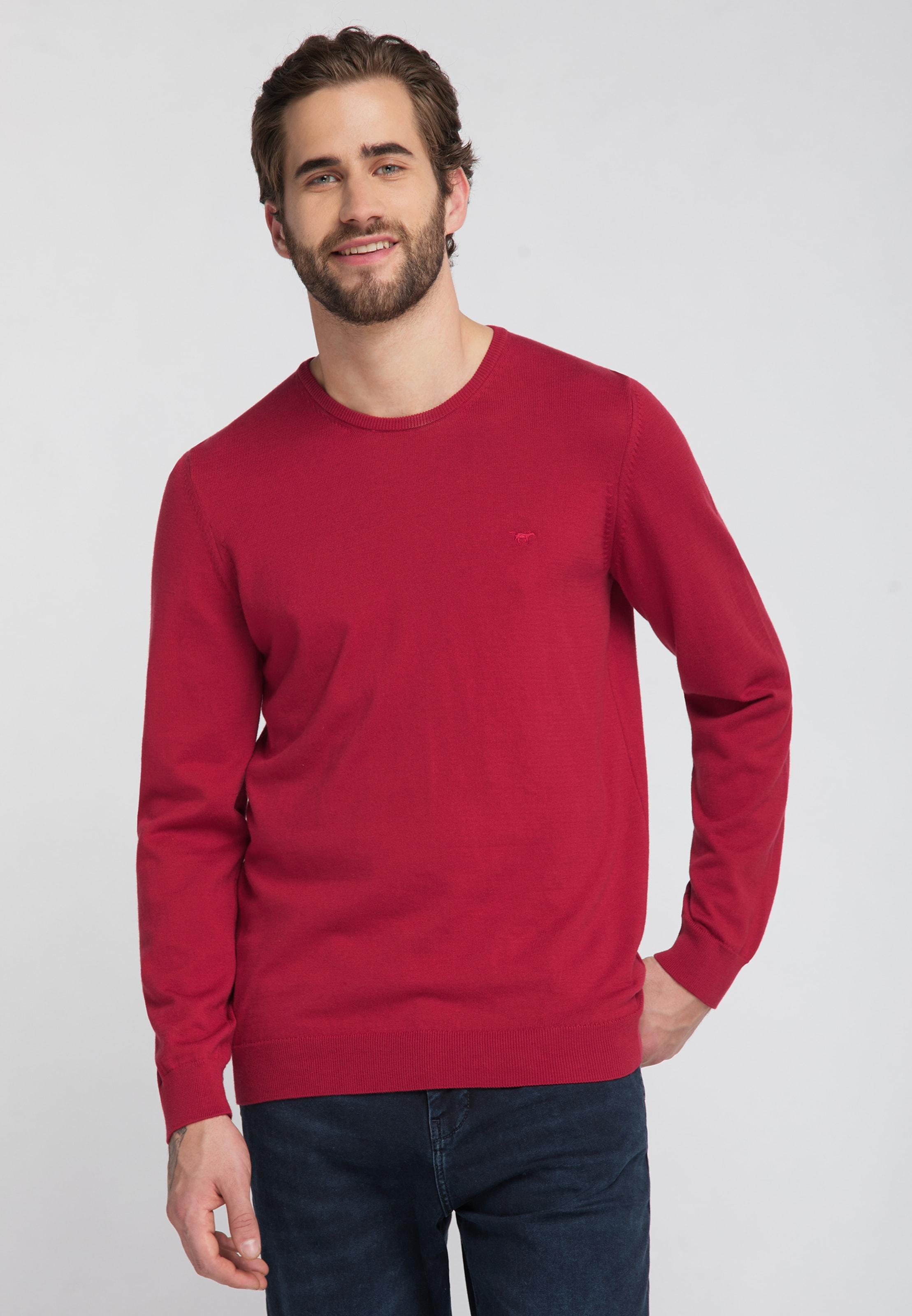 MUSTANG Sweater 'Emil C' in rot Sweatstoff 1008318000002