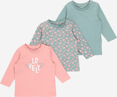 NAME IT T-Shirt 'KATJA' en vert pastel / rose: Vue de face