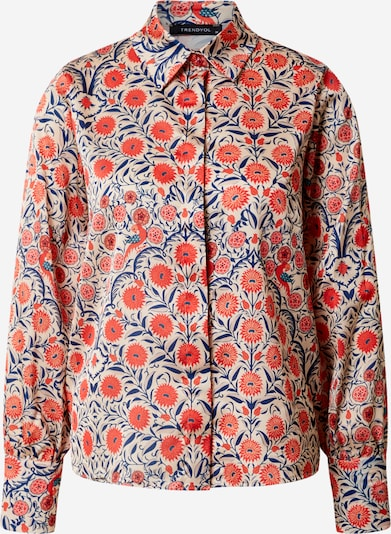Trendyol Bluse in beige / blau / rot, Produktansicht