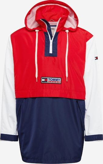 Tommy Jeans Tussenjas 'Colorblock Popover' in de kleur Navy / Rood / Wit, Productweergave