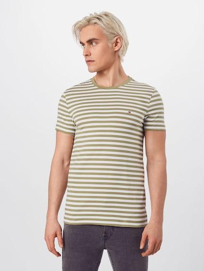 TOMMY HILFIGER Majica u maslinasta / bijela: Prednji pogled