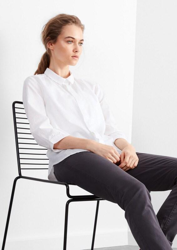 Q/S designed by Melierte Hemdbluse aus Baumwolle