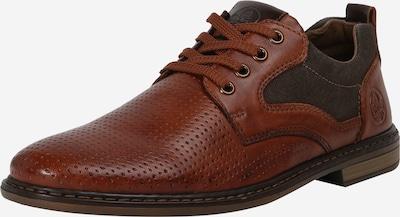 RIEKER Čevlji na vezalke | karamel / grafit barva: Frontalni pogled