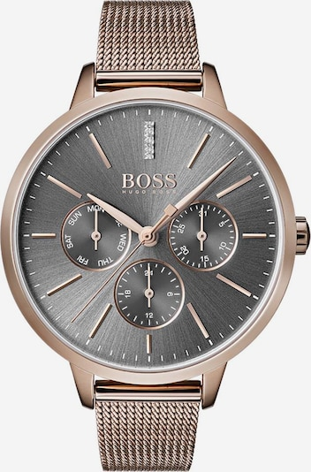 BOSS Uhr in rosegold / dunkelgrau, Produktansicht