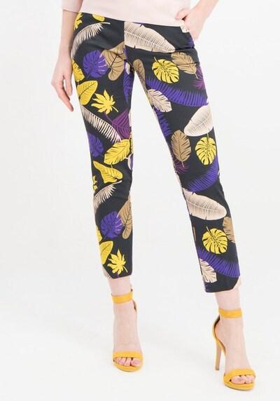 Nicowa Hose 'NIETTA' in gelb / dunkellila / schwarz, Modelansicht