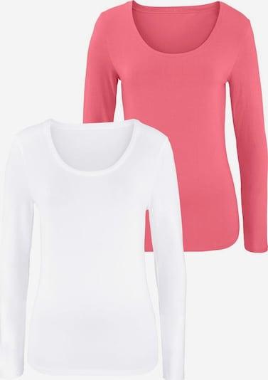 VIVANCE Langarmshirts (2 Stück) aus Baumwoll-Stretch in lachs / weiß, Produktansicht