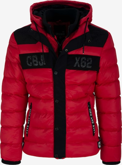 CIPO & BAXX Steppjacke mit Kapuze in rot / schwarz, Produktansicht