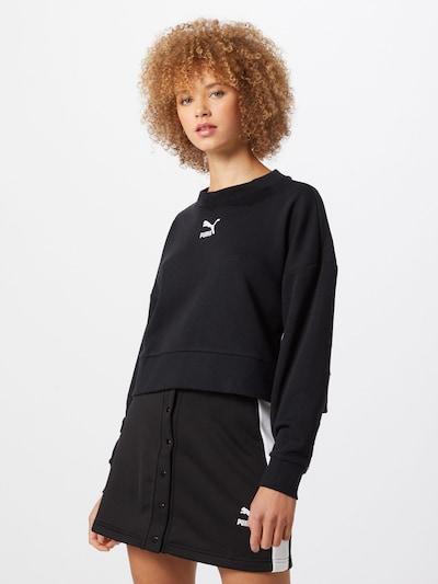PUMA Sweatshirt 'Classics Crew' in schwarz / weiß: Frontalansicht