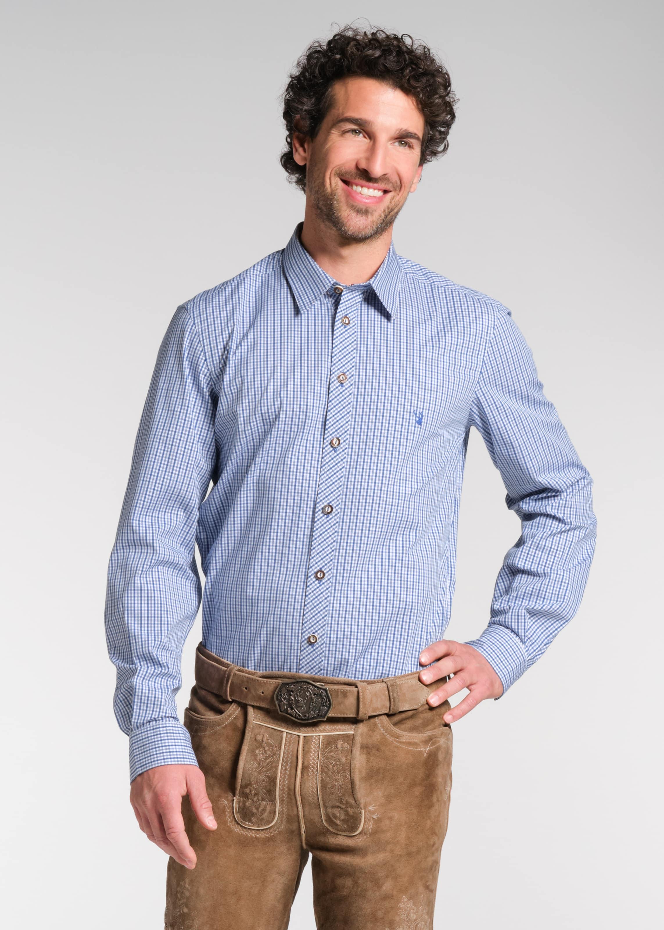 SPIETH & WENSKY Trachtenhemd 'Norman' in blau / weiß Ungefüttert 4059829934092