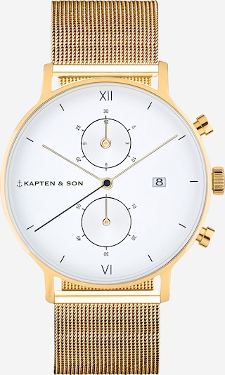 Kapten & Son Zegarek analogowy w kolorze złoty / białym, Podgląd produktu