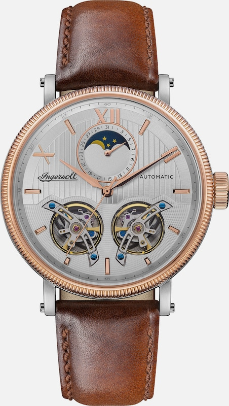 INGERSOLL Automatikuhr 'The Hollywood Automatic' in braun / rosegold, Produktansicht