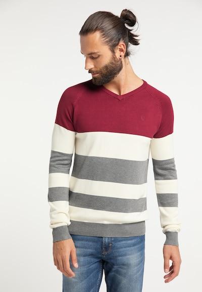 DREIMASTER Pullover in grau / rot / naturweiß: Frontalansicht