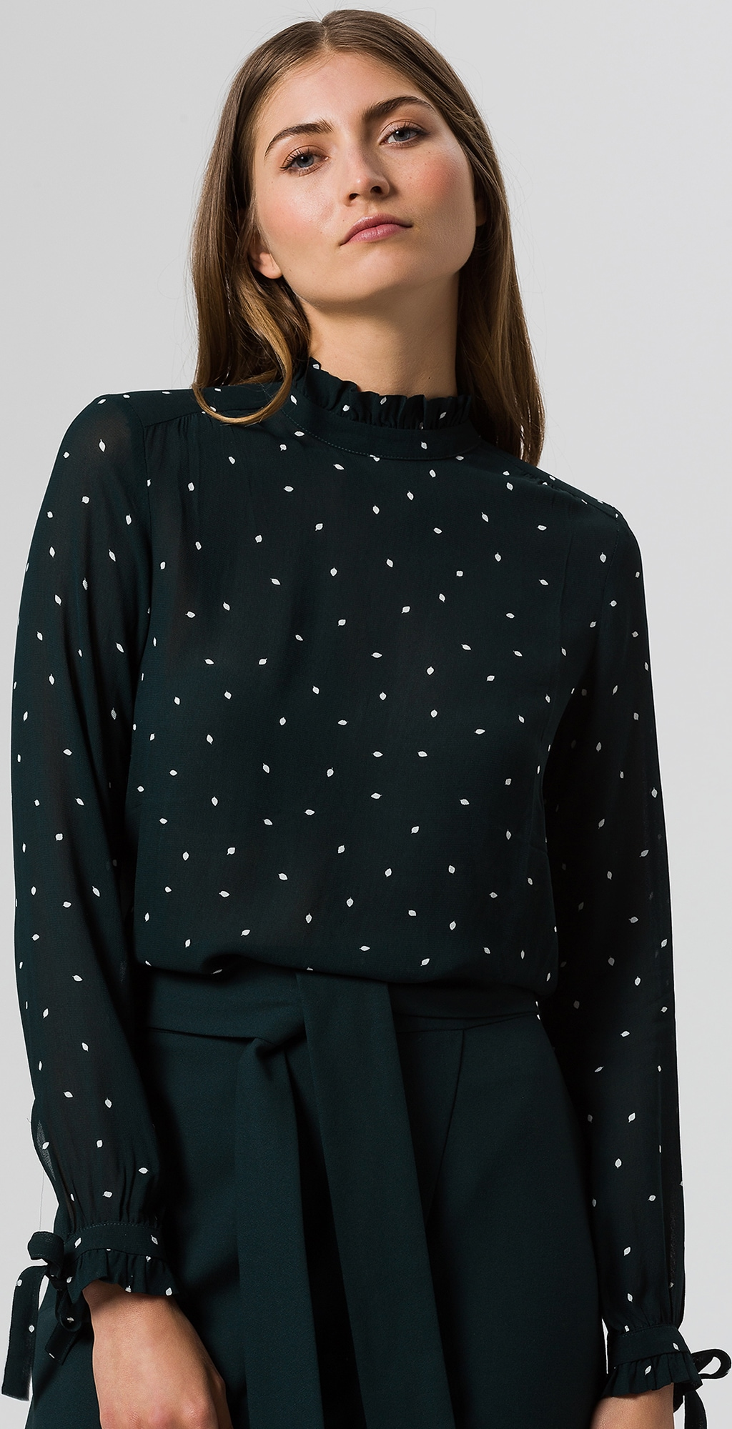Blouse Designs Stand Collar : Ivy oak blouse stand up collar ruffle in groen