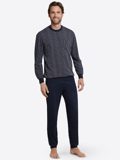 SCHIESSER Dlhé pyžamo - námornícka modrá / biela, Model/-ka