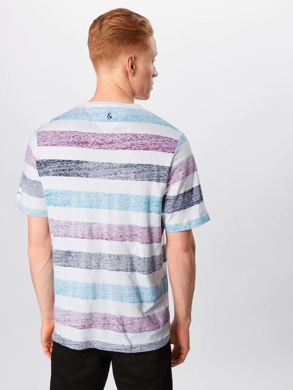 En Bleu Coloursamp; Sons ClairViolet Blanc T shirt 'frank' TkXZOiuP