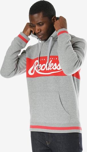 Young & Reckless Kapuzenpullover 'Opulent' in grau / rot / weiß, Produktansicht