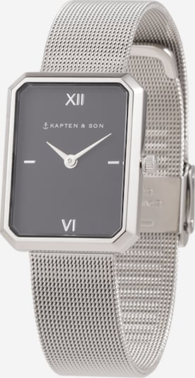 Kapten & Son Uhr 'Grace Mesh' in schwarz / silber: Frontalansicht