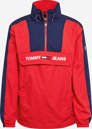 Tommy Jeans Tussenjas 'COLORBLOCK POPOVER' in de kleur Donkerblauw / Rood, Productweergave
