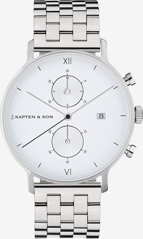 Kapten & Son Analog Watch 'Small Chrono Steel' in Silver