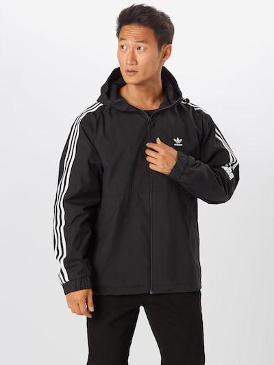 ADIDAS ORIGINALS Prehodna jakna '3D Trefoil'   črna / bela barva: Frontalni pogled