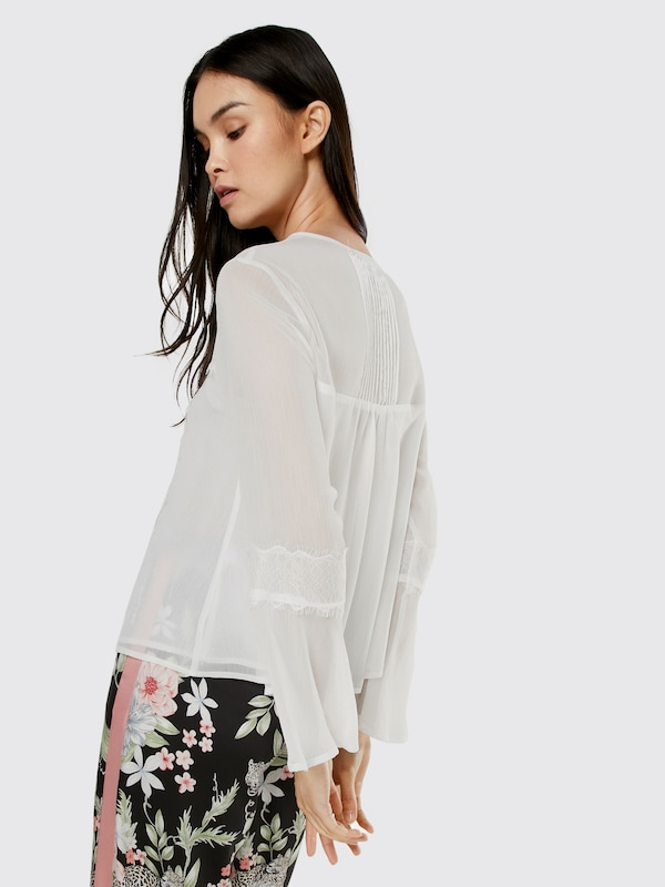 NEW LOOK Bluse 'HAYLEY LACE & PLEAT TIE SHELL'