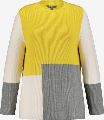Ulla Popken Pull-over 'Colorblocking' en jaune / blanc, Vue avec produit