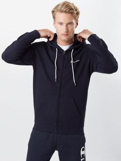 Champion Authentic Athletic Apparel Veste de survêtement en bleu foncé / blanc, Vue avec modèle