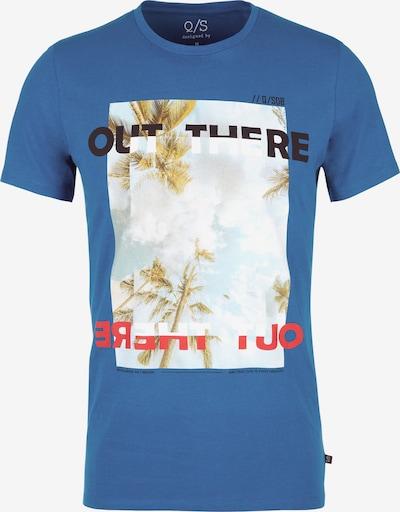 Q/S designed by T-Shirt in blau / mischfarben: Frontalansicht