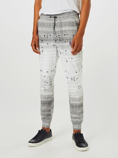 HUGO Spodnie 'Donaco' w kolorze nakrapiany szary / białym: Widok z przodu