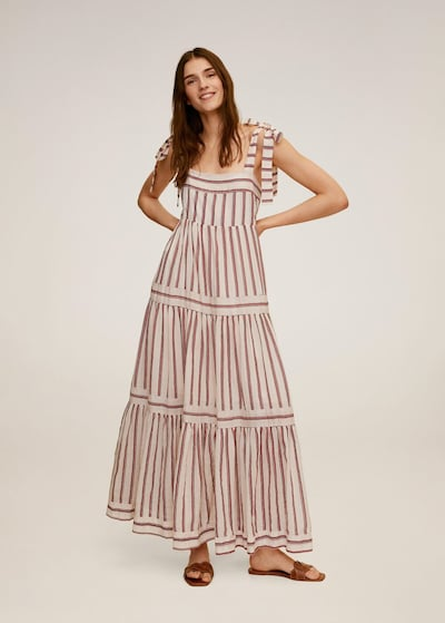 MANGO Letní šaty 'Indi' - námořnická modř / červená / bílý melír, Model/ka