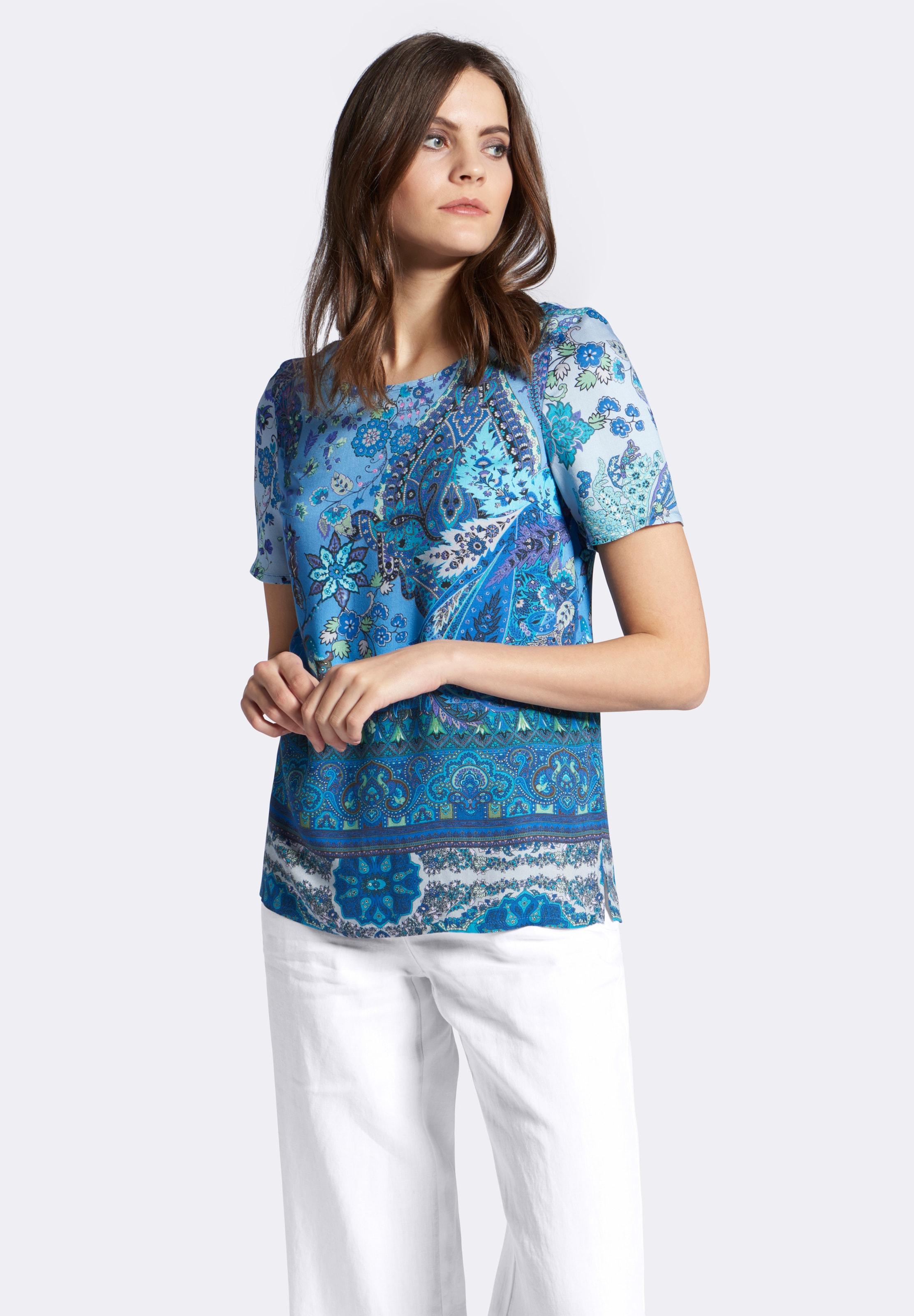 ausschnitt Blau shirt Peter Hahn Rundhals In Blusen Mit dCtQsrxh