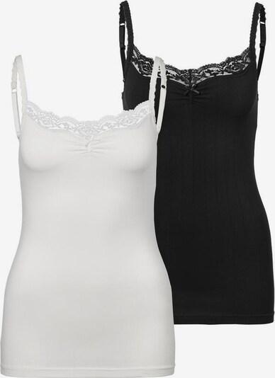 LASCANA Unterhemd in schwarz / weiß, Produktansicht