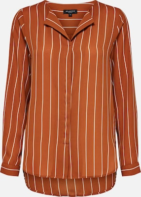 SELECTED FEMME Blouse in Roestbruin / Wit