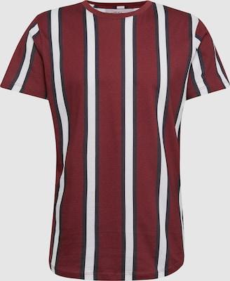 JACK & JONES Shirt 'JOROTER' in Donkerrood / Zwart / Wit