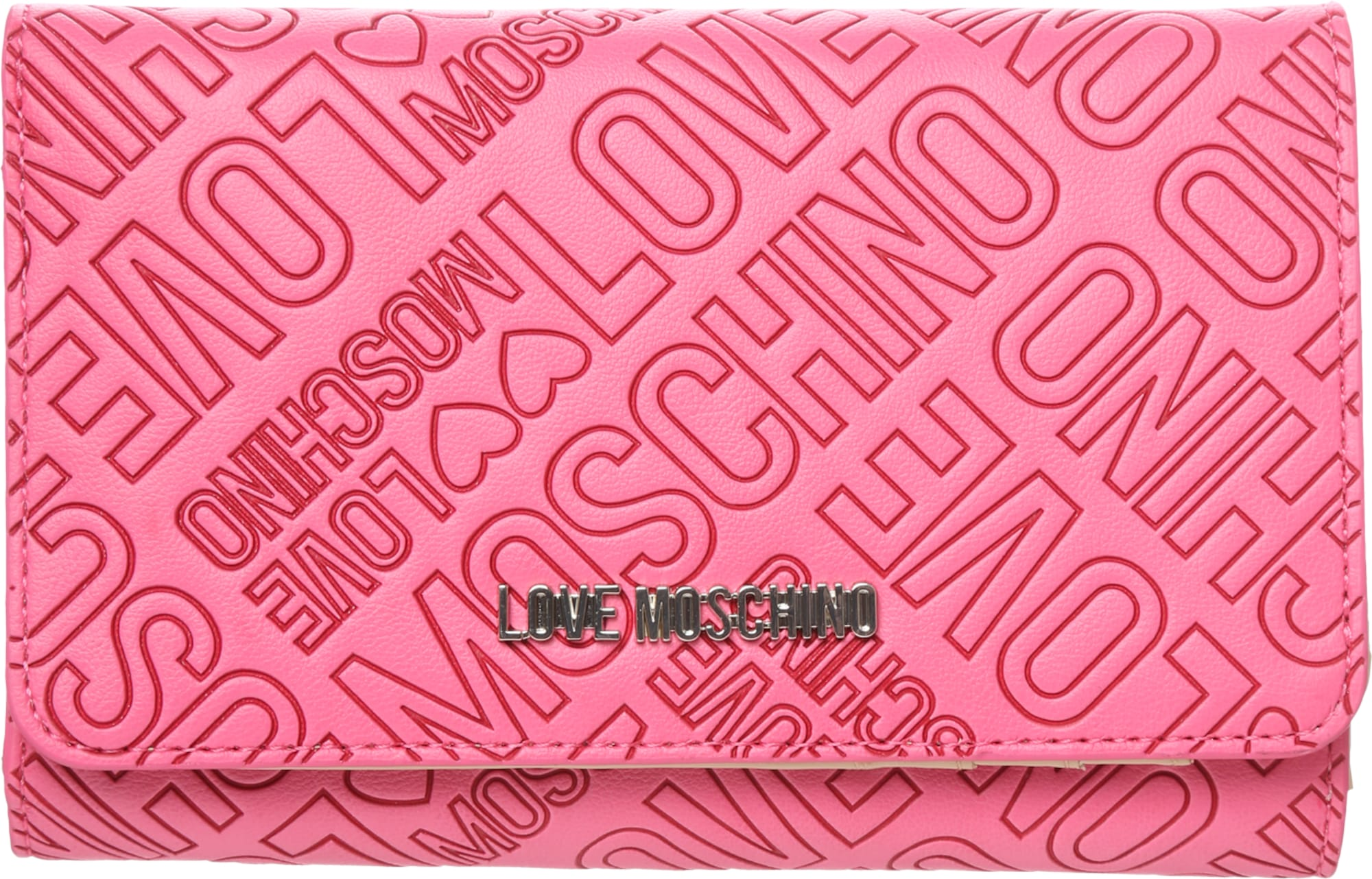 love moschino portemonnaie mit allover label pr gung in pink about you. Black Bedroom Furniture Sets. Home Design Ideas