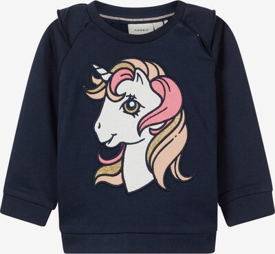 NAME IT Sweatshirt 'Einhorn' in navy / gold / pink / puder / weiß, Produktansicht