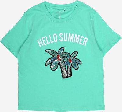 NAME IT T-Shirt 'Josey' en bleu / jade / mélange de couleurs / noir / blanc, Vue avec produit