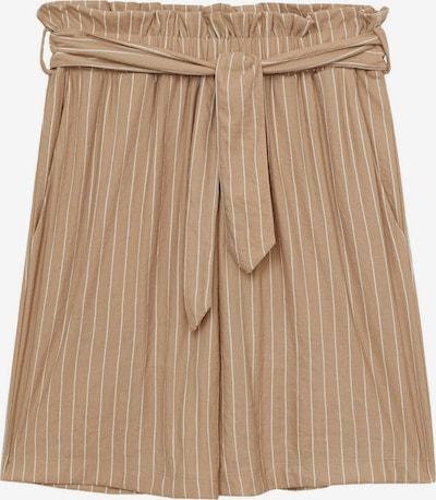 MANGO Kalhoty se sklady v pase 'DIAMANTE' - světle hnědá / bílá: Pohled zepředu